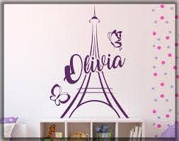 Eiffel Tower Personalized Wall Decal Paris Girl Name Etsy