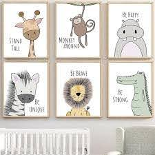 Zebra Hippo Giraffe Lion Crocodile Nursery Wall Art Canvas Painting Nordic Posters And Prints Wall Pictures Baby Kids Room Decor Kids Room Art Kids Room Art Diy Nursery Wall Art