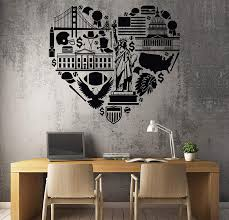 Amazon Com Wall Vinyl Decal Us Usa Love Heart Symbols Eagle Statue Of Liberty Football Unique Decal And Stick Wall Decals Kitchen Dining