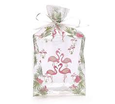 small flamingo kisses clear cello bag
