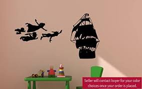 Amazon Com Aluckyhorseshoe Peter Pan Decal Never Land Decal Peter Pan And Pirate Ship Decal Peter Pan Decor Children Decor Nursery Decor Boys Room Girls Room 48 X 50 Inches Home Kitchen