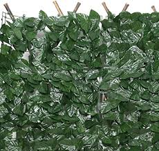 Amazon Com Decorative Fences Privacy Fence Screen Artificial Hedges Faux Ivy Vine Leaf Waterproof Leaves With Zip Tie Free Cutting For Outdoor Decor Garden Color Dark Green Size 1x2 5m Garden