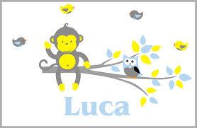 Boys Nursery Wall Decal Baby Monogrammed Monkey Wall Decal Branch Nurserydecals4you