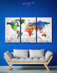 3 Pieces World Map With Landmarks Wall Art Canvas Print At Texelprintart