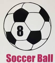 Player Number On Soccer Ball Decal For Waterbottle Or Car