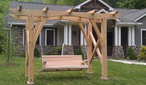 timber frame arbor with swing