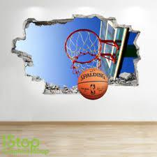Basketball Wall Sticker 3d Look Boys Kids Bedroom Sport Wall Decal Z605 Ebay