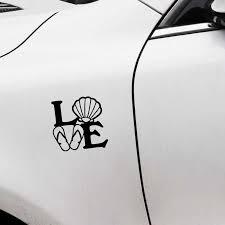 Yjzt 12 7cm 12 2cm Beach Love Flip Flops Shell Waterproof Decal Car Sticker Vinyl C11 2082 Car Stickers Aliexpress