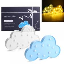 11 Led Marquee Cloud Night Light Wall Battery Lamp Baby Kids Bedroom Home Decor