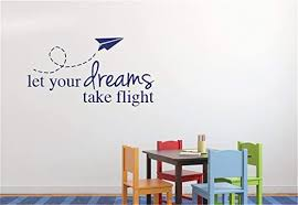 Amazon Com Miseda Wall Stickers Art Decor Decals Boy Wall Decals Baby Boy Wall Decals Toys Airplane Flying Kids Boys Room Playroom Art Design Let Your Dreams Take Flight Quotes Mural Home