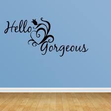 Wall Decal Quote Hello Gorgeous Cute Hearts Happy Love Girl S Room Saying R46 Walmart Com Walmart Com
