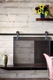 barn door style fireplace screen