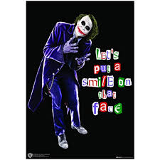 happy giftmart joker lets put smile on that face quote poster wb