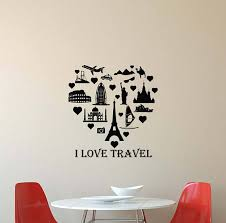 I Love Travel Wall Decal Quote Travelling Heart Office Vinyl Wall Quotes Decals Decor Display Diy For Teens