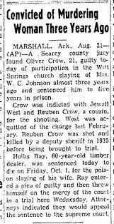 Oliver Crow found guilty. Jewell West acquitted. Ruben Crow shot by deputy  in 1935. - Newspapers.com