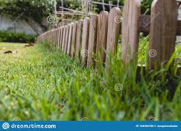 Small Wooden Fence In A Garden Stock Photo Image Of Little Blue 169286780