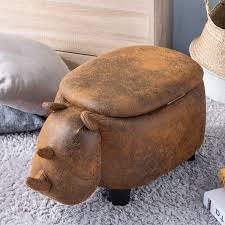Storage Ottoman Kids Upholstered Footrest Stool With Vivid Adorable Animal Shape Soft Ride On Seat For Living Room Bedroom Dorm Apartment I8464 Walmart Com Walmart Com