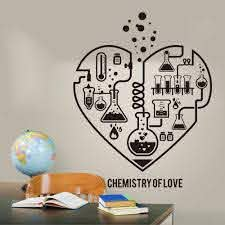 Amazon Com Wall Stickers Murals Large Chemistry Science Abstract Heart Wall Decal Laboratory Classroom Chemistry Science Valentine Wall Sticker Kids Room 60x48cm Kitchen Dining