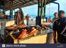 buyers in a seafood market. Port ...