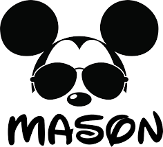 Amazon Com Mickey Mouse Face With Glasses Custom Personalized Family Name Wall Decals Wall Design Stickers Vinyl Removable Children Kids Rooms Girls Boys Baby Nursery Cartoon Size 20x20 Inch Arts Crafts Sewing