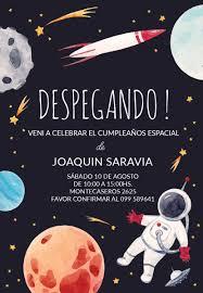 Tarjeta Invitacion Digital Espacio Planetas Astronauta 100 00
