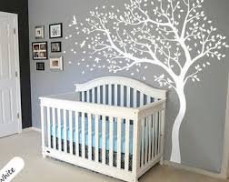 Large Tree Decal Huge White Tree Wall Decal Stickers Corner Nursery Wall Decals Tree Nursery Wall Decor Kids Room Wall Stickers