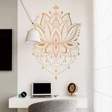Amazon Com Ch Kwok Mandala Lotus Wall Sticker 85x125cm Boho Vinyl Wall Decal Home Decor Gold 85x125cm Home Kitchen
