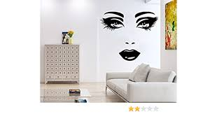 Wall Decal Face Eyes Lips Girl S Face Vinyl Sticker Decals Home Decor Bedroom Art Design Interior Ns554 Amazon Com