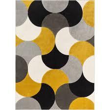 geometric gold gray black area rug