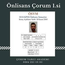 Önlisans KPSS Çorum 1.si Türkiye 563.sü... - Çorum Yargı Akademi