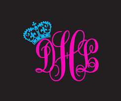 Monogram Initials With Crown Window Decal Sticker Custom Sticker Shop
