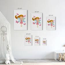 Cute Fairy Girl Magic Wand Pink Butterfly Kids Room Decor Nursery Wall Smile Art Design