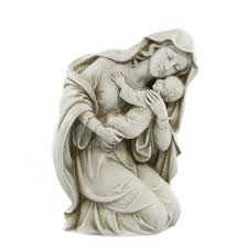 kneeling madonna with child statue