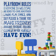 Playroom Rules Nursery School Fun Share Quote Vinyl Wall Decal Decor Sticker V2 Ebay