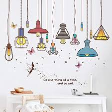 Amazon Com Sasagi Removable Peel And Wall Sticker Pvc Water Proof Wallpaper Hand Painted Pendant Ceiling Lamp Wall Mural Living Room Bedroom Reading Room Wall Decal A 90x60cm 35x24inch Home Kitchen