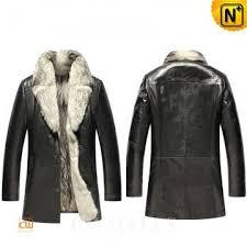 mens leather fur coat
