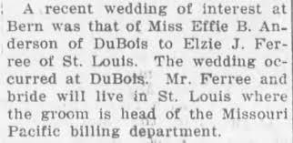 Effie Anderson and Elzie Ferree wed at DuBois, Nebraska ...