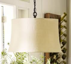 burlap drum shade pendant light