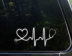 Stethoscope Big Heart Decal Bumper Sticker Nurse Stickers Heart Decals Bumper Stickers