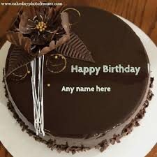 wish on chocolate cake pic with name