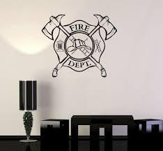 Vinyl Wall Decal Fire Department Emblem Shield Firefighter Stickers Ig3240 Firefighter Stickers Wall Decals Vinyl Wall Decals