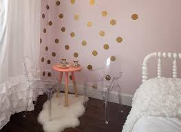 Pink And Gold Girls Bedroom With Lottie Dots Gold Decals Transitional Girl S Room