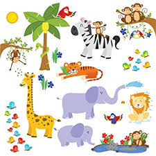 Amazon Com Treepenguin Kids Jungle Animals Wall Decals Cute Safari Theme Wall Stickers For Baby Toddler Boys Girls Rooms Peel And Stick Bedroom And Nursery Decor Home Kitchen