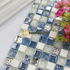 diamond blue glass mosaic tiles
