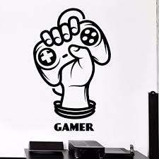 Amazon Com Game Room Handle Sticker Gamer Decal Gaming Posters Gamer Vinyl Wall Decals Parede Decor Ps4 Xbox One Controller White Home Kitchen