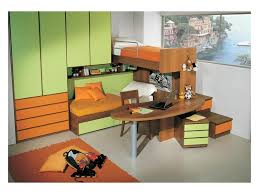 Kid Bedroom With Double Bed Desk Included In The Bunk Structure Green And Orange Finish Idfdesign