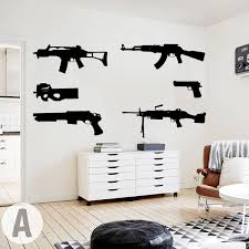 Set Of 6 Guns Wall Decal Kids Room Boy Room Ak 47 Weapon Army Solider Military Wall Sticker Bedroom Play Room Vinyl Home Decor Wish