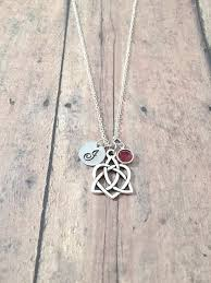 celtic knot birthstone initial necklace