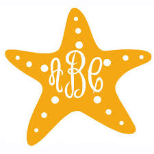 Starfish Vinyl Decal With Monogram Monogram Vinyl Decal Silhouette Crafts Silhouette Projects