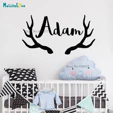 Antlers Deer Design Custom Name Personalised Baby Room Decor Decal For Home Boy And Girl Wall Sticker Wallpaper Mural Ba014 Wall Stickers Aliexpress